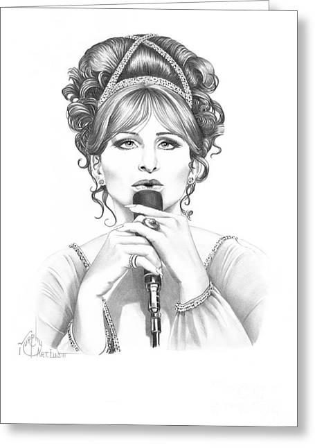 Pencil Drawing Greeting Cards - Barbara Streisand Greeting Card by Murphy Elliott