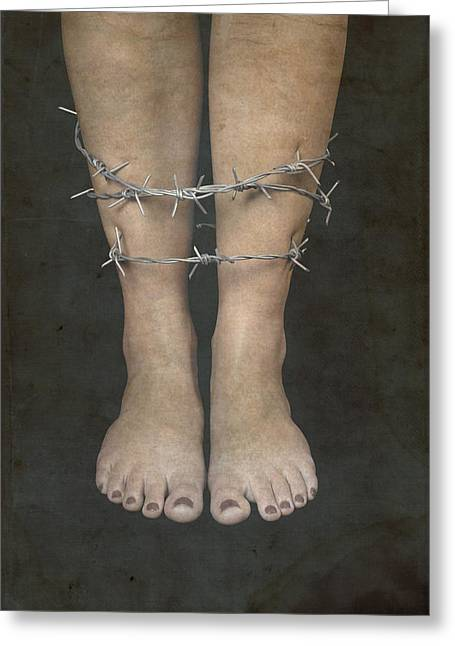 Anonymous Greeting Cards - Barbed Wire Greeting Card by Joana Kruse