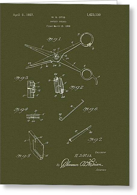 Scissors Drawings Greeting Cards - Barber Shears Patent 1927 Greeting Card by Mountain Dreams