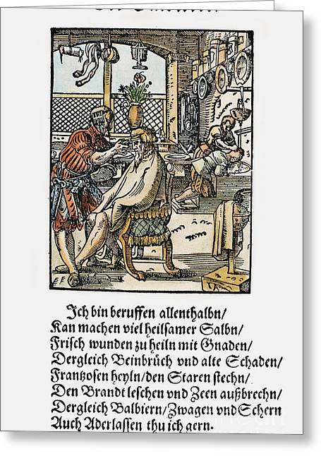 Hair-washing Greeting Cards - Barber-surgeon, 1568 Greeting Card by Granger