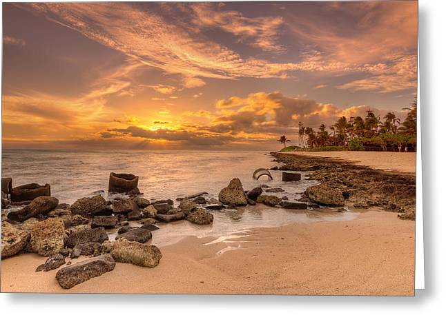 Koolina Greeting Cards - Barbers point light house sunset Greeting Card by Tin Lung Chao