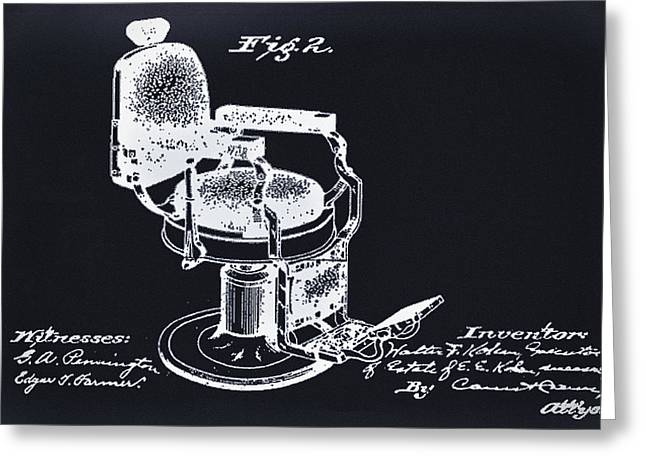 Barbershops Greeting Cards - Barbershop Chair -  Patent Greeting Card by Digital Reproductions