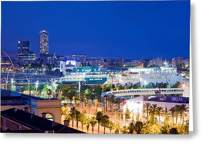Barcelona and its skyline at night Greeting Card by Michal Bednarek