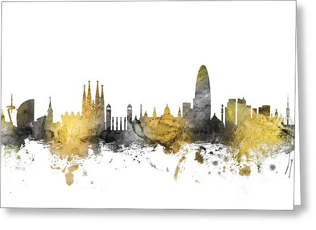 Catalunya Digital Greeting Cards - Barcelona Spain Skyline Greeting Card by Michael Tompsett