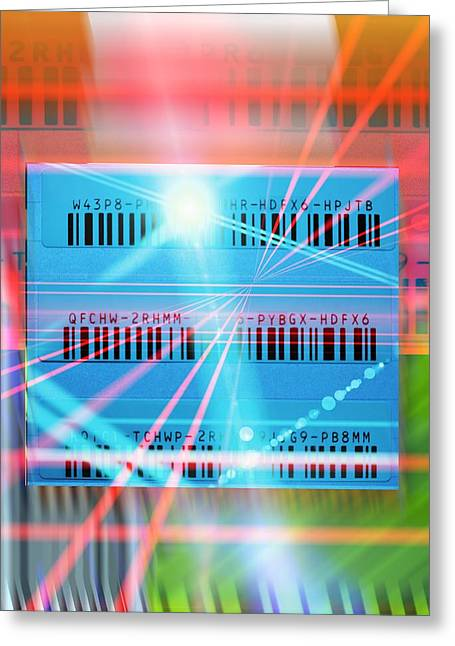 Label Greeting Cards - Barcode scanning, conceptual artwork Greeting Card by Science Photo Library