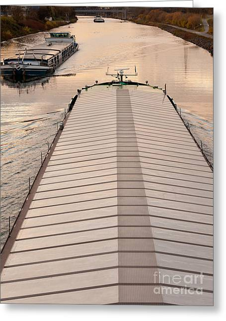 Covered Barge Greeting Cards - Barges plying waterway channel in industrial area Greeting Card by Stephan Pietzko