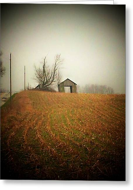 Country Shed Greeting Cards - Barn and Road Greeting Card by Michael L Kimble