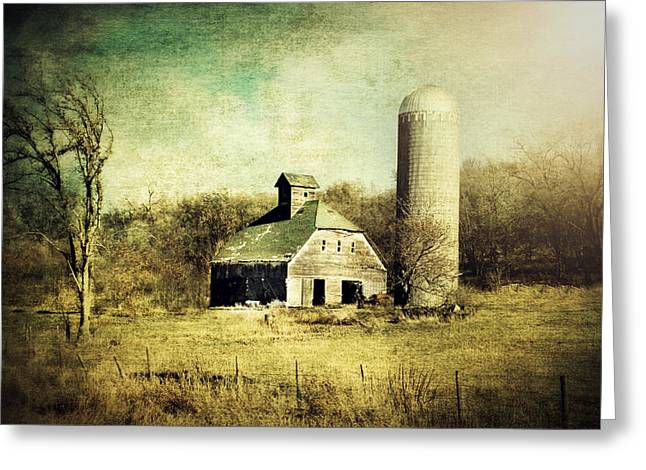 Cupola Digital Art Greeting Cards - Barn and Silo Greeting Card by Julie Hamilton