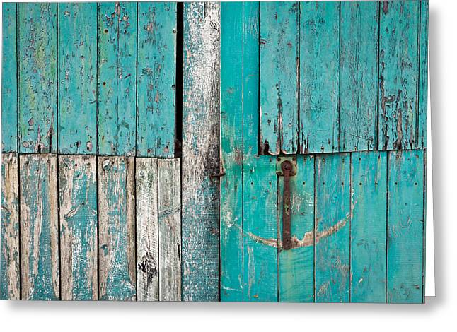 Vintage Wall Greeting Cards - Barn door Greeting Card by Tom Gowanlock