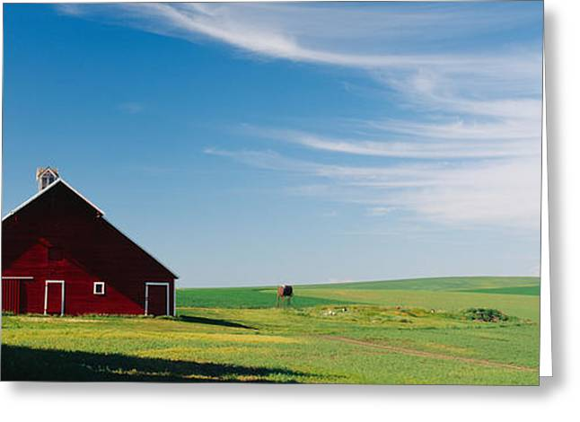 Wispy Greeting Cards - Barn In A Wheat Field, Washington Greeting Card by Panoramic Images