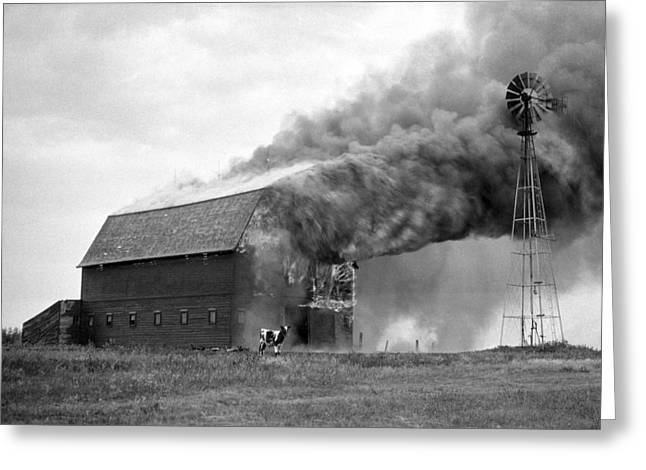 Lightning Photographs Greeting Cards - Barn on Fire Greeting Card by Donald  Erickson