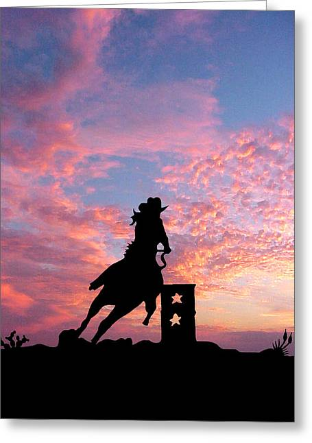 Texas Horse Greeting Cards - Barrel Racer Greeting Card by Robert Anschutz