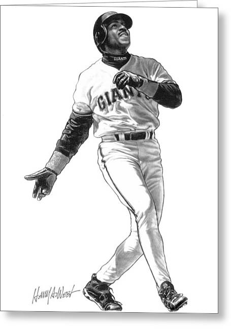 Photo Realism Drawings Greeting Cards - Barry Bonds Greeting Card by Harry West