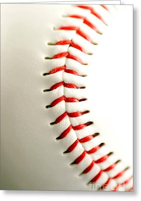 Fastball Greeting Cards - Base ball close up Greeting Card by Henrik Lehnerer