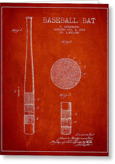 Baseball Bat Greeting Cards - Baseball Bat Patent Drawing From 1923 Greeting Card by Aged Pixel