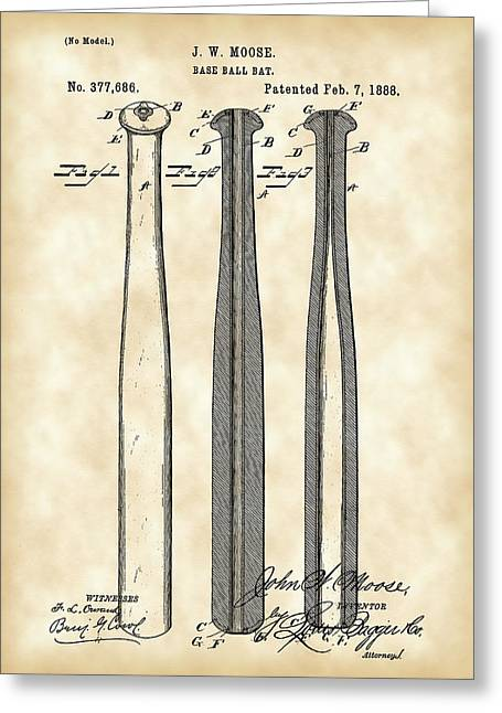 Fast Ball Digital Greeting Cards - Baseball Bat Patent 1888 - Vintage Greeting Card by Stephen Younts