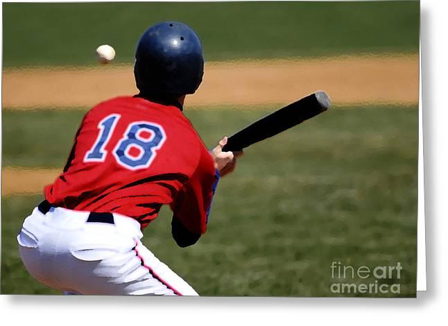 American Pastime Mixed Media Greeting Cards - Baseball Batter Greeting Card by Lane Erickson