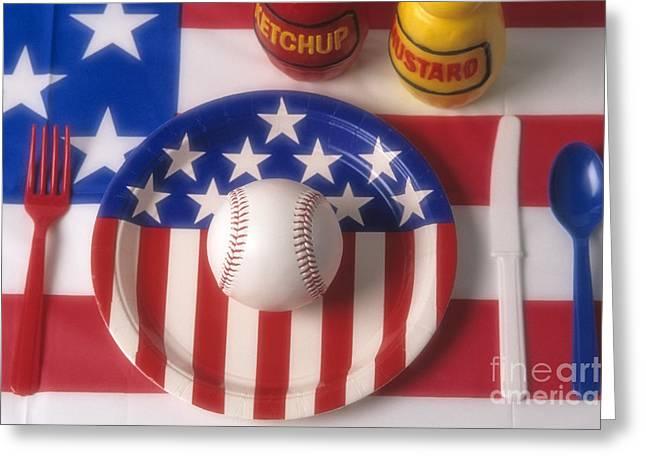 Food Safe Greeting Cards - Baseball Dinner Greeting Card by Jim Corwin