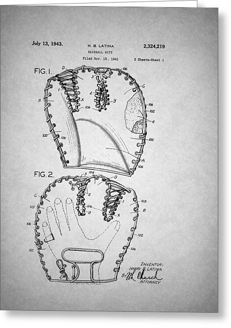 Leather Glove Drawings Greeting Cards - Baseball Glove Patent 1943 Greeting Card by Mountain Dreams
