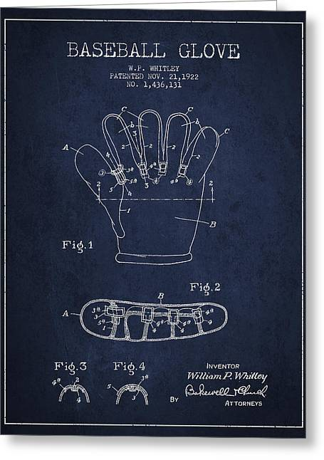 Softball Digital Art Greeting Cards - Baseball Glove Patent Drawing From 1922 Greeting Card by Aged Pixel