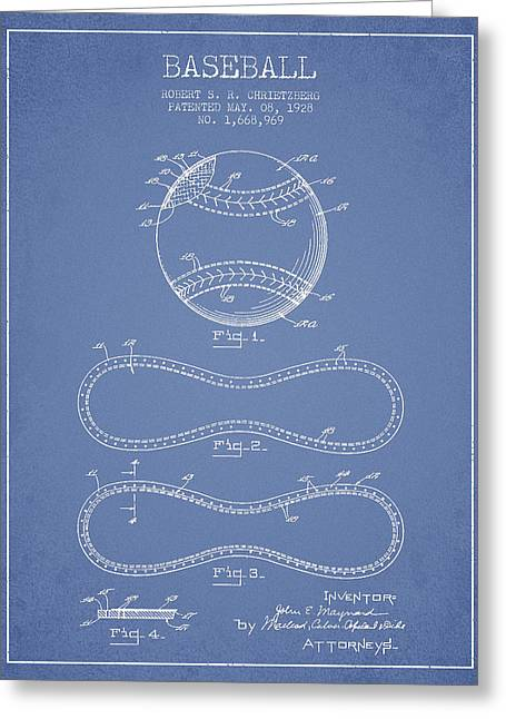 Base Balls Greeting Cards - Baseball Patent Drawing From 1928 Greeting Card by Aged Pixel