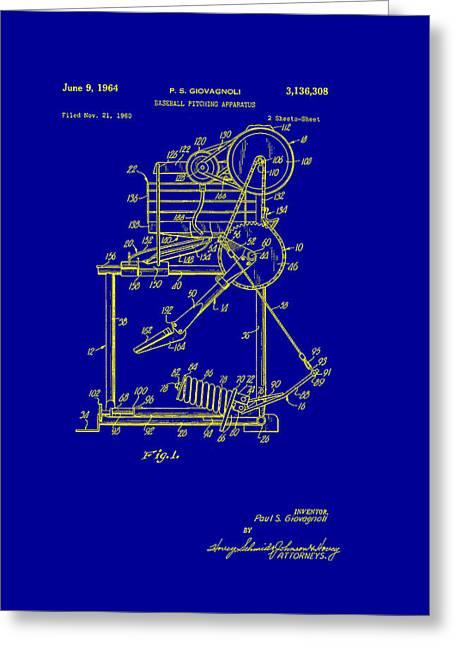 Baseball Art Drawings Greeting Cards - Baseball Pitching Machine Patent 1964 Greeting Card by Mountain Dreams