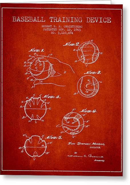 Baseball Bat Greeting Cards - Baseball Training Device Patent Drawing From 1963 Greeting Card by Aged Pixel