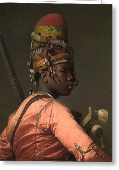 Jean Leon Gerome Greeting Cards - Black Bashi-Bazouk Greeting Card by Jean-Leon Gerome