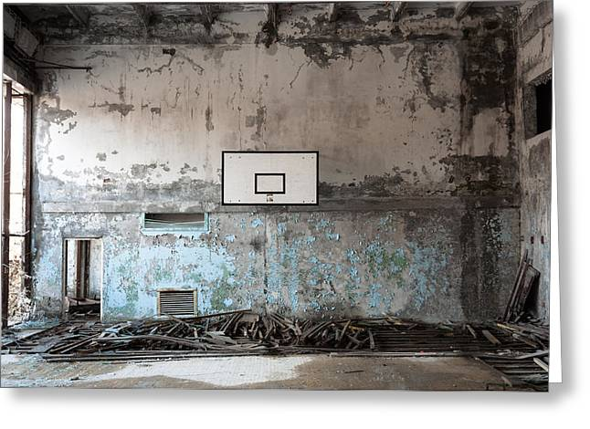 Basket Ball Greeting Cards - Basket ball room in Chernobyl Greeting Card by Oliver Sved