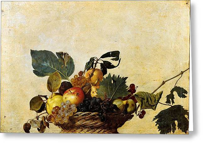 Michelangelo Caravaggio Greeting Cards - Basket of Fruit Greeting Card by Caravaggio