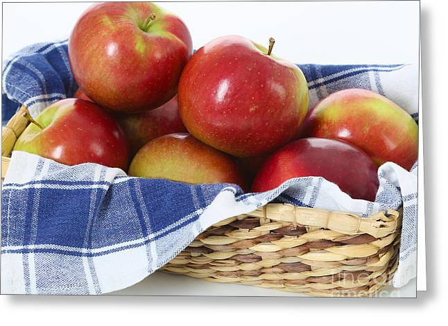 Blue And White Gingham Greeting Cards - Basket of McIntosh Apples Greeting Card by Jt PhotoDesign