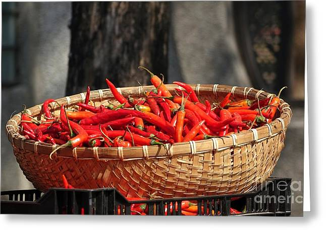 Red Hot Chili Peppers Greeting Cards - Basket with Red Chili Peppers Greeting Card by Yali Shi