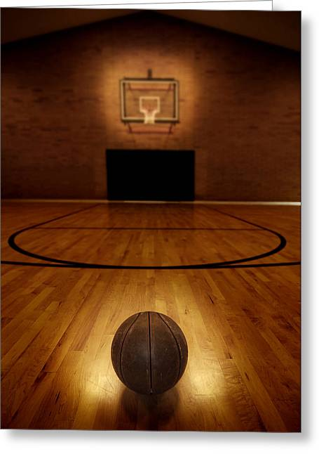 Best Sellers -  - Basket Ball Game Greeting Cards - Basketball and Basketball Court Greeting Card by Lane Erickson
