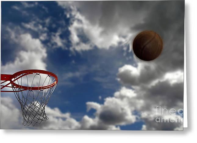 Basket Ball Game Greeting Cards - Basketball  Greeting Card by Lane Erickson