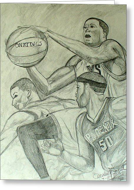 Basket Ball Game Greeting Cards - Basketball Player 2 Greeting Card by Darlene Ricks- Parker