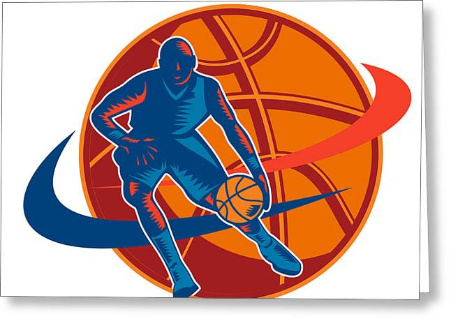 Basketball Artwork Greeting Cards - Basketball Player Dribbling Ball Woodcut Retro Greeting Card by Aloysius Patrimonio