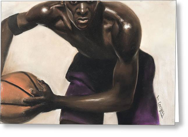 Basketball Pastels Greeting Cards - Basketball Player Greeting Card by L Cooper