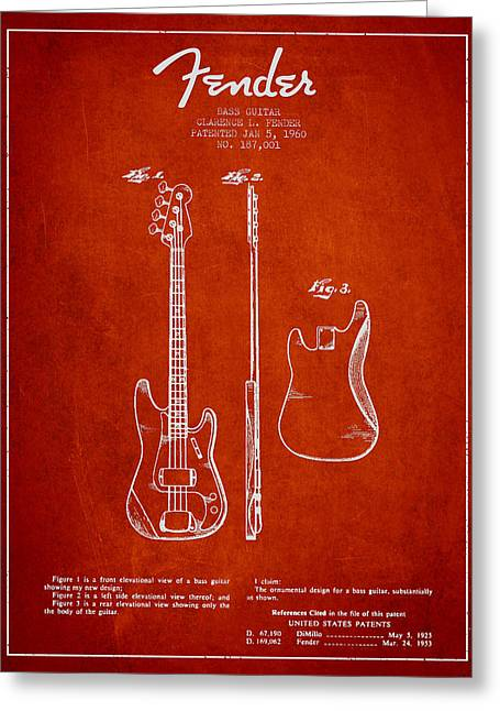String Instrument Greeting Cards - Bass Guitar Patent Drawing from 1960 Greeting Card by Aged Pixel