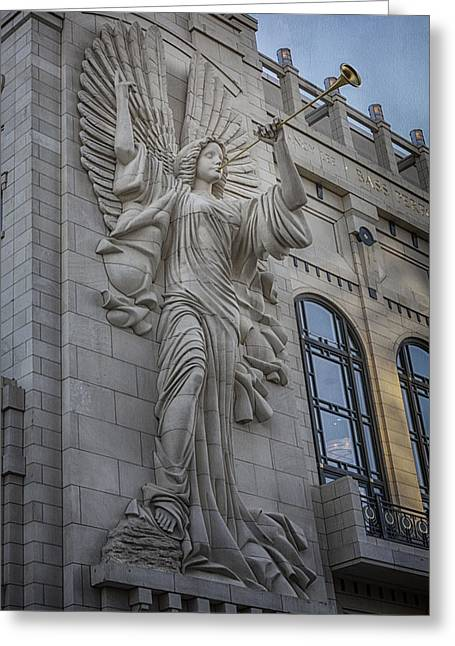 Fort Worth Texas Greeting Cards - Bass Hall Angel Greeting Card by Joan Carroll