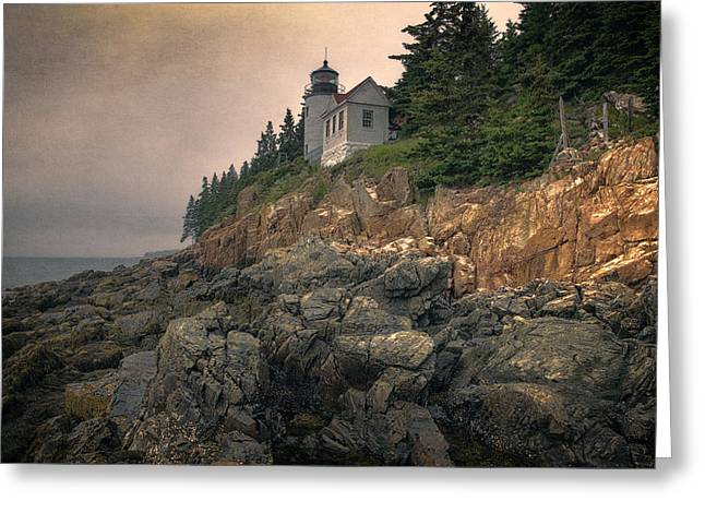 Maine Shore Greeting Cards - Bass Harbor Head Light II Greeting Card by Joan Carroll