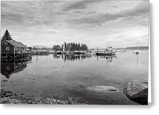 New England Village Greeting Cards - Bass Harbor in the Morning Fog Greeting Card by John Bailey