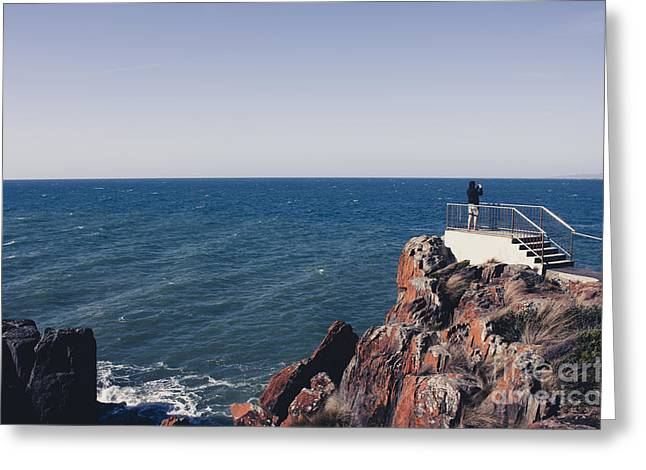 Sea View Greeting Cards - Bass Strait Ocean view from East Devonport  Greeting Card by Ryan Jorgensen