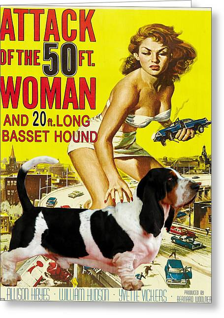 Basset Hound Prints Greeting Cards - Basset Hound Art Canvas Print - Attack of the 50ft woman Movie Poster Greeting Card by Sandra Sij