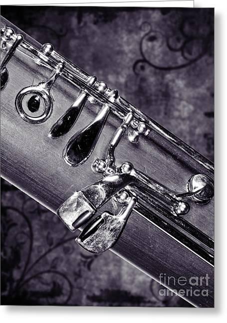 Bassoon Music Instrument Fine Art Prints Canvas Prints Greeting Cards In Black White 3420.01 Greeting Card by M K  Miller