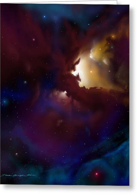 Stellar Paintings Greeting Cards - Bat Nebula Greeting Card by James Christopher Hill