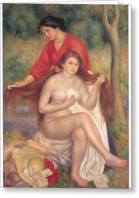Woman With Long Hair Greeting Cards - Bather and Maid Greeting Card by Pierre-Auguste Renoir