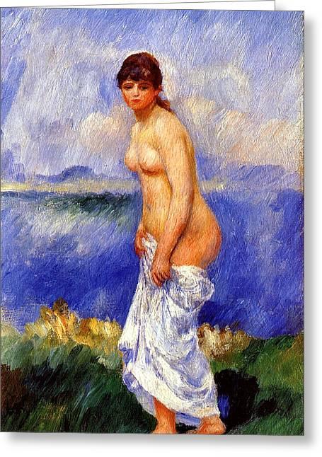 Renoir Digital Greeting Cards - Bather Greeting Card by Pierre-Auguste Renoir