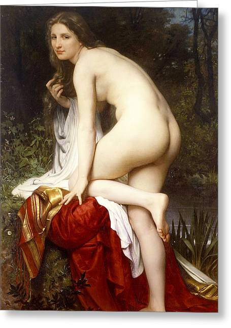 Academic Nudes Greeting Cards - Bather Greeting Card by William-Adolphe Bouguereau