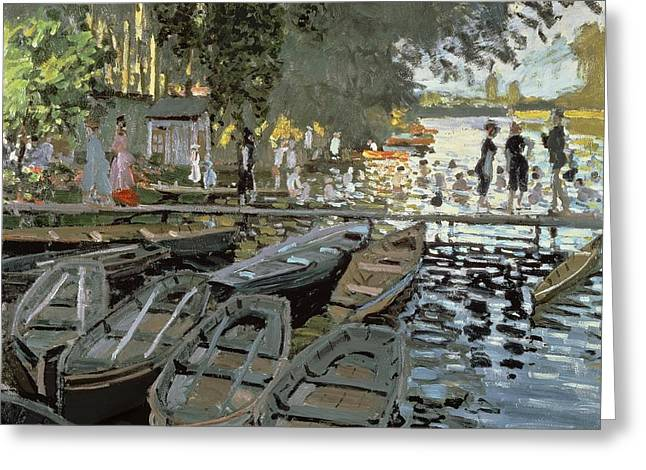 Grenouillere Greeting Cards - Bathers at La Grenouillere Greeting Card by Claude Monet