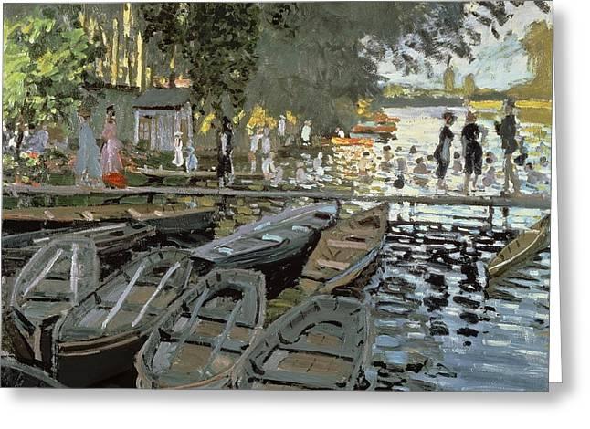La Grenouillere Greeting Cards - Bathers at La Grenouillere Greeting Card by Claude Monet